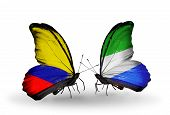 Two Butterflies With Flags On Wings As Symbol Of Relations Columbia And Sierra Leone