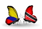 Two Butterflies With Flags On Wings As Symbol Of Relations Columbia And Trinidad And Tobago