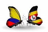 Two Butterflies With Flags On Wings As Symbol Of Relations Columbia And Uganda
