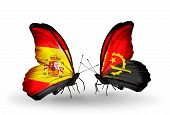 Two Butterflies With Flags On Wings As Symbol Of Relations Spain And Angola