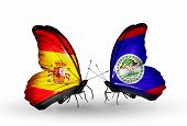 Two Butterflies With Flags On Wings As Symbol Of Relations Spain And Belize