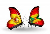 Two Butterflies With Flags On Wings As Symbol Of Relations Spain And Grenada