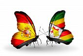 Two Butterflies With Flags On Wings As Symbol Of Relations Spain And Zimbabwe