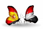 Two Butterflies With Flags On Wings As Symbol Of Relations Spain And Yemen
