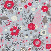 Seamless pattern with poppy flowers and acorns in light colors