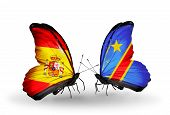 Two Butterflies With Flags On Wings As Symbol Of Relations Spain And  Kongo