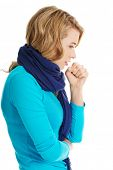 stock photo of cough  - Young woman has a flu - JPG