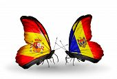 Two Butterflies With Flags On Wings As Symbol Of Relations Spain And Moldova