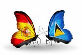 Two Butterflies With Flags On Wings As Symbol Of Relations Spain And Saint Lucia