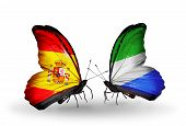 Two Butterflies With Flags On Wings As Symbol Of Relations Spain And Sierra Leone