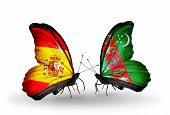 Two Butterflies With Flags On Wings As Symbol Of Relations Spain And Turkmenistan
