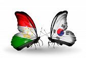 Two Butterflies With Flags On Wings As Symbol Of Relations Tajikistan And South Korea