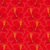 seamless red background with red hibiscus flowers.
