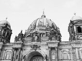 picture of dom  - Berliner Dom cathedral church in Berlin Germany in black and white - JPG
