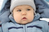 Little Baby Portrait In Winter Overall