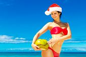 Young Beautiful Woman With Long Black Hair In Red Bikini, And Red Santa Claus Hat With Coconut