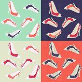 Seamless ladies retro high heels shoes seamless pattern