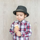 picture of sweet dreams  - Portrait of baby child with sweet ice cream - JPG