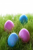 Four Decorative Easter Eggs On Green Grass