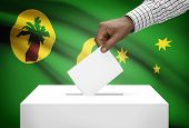 Ballot Box With National Flag On Background - Cocos Or Keeling Islands