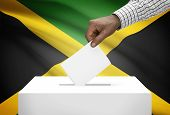 Ballot Box With National Flag On Background - Jamaica
