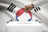 Ballot Box With National Flag On Background - South Korea
