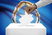 Ballot Box With National Flag On Background - Commonwealth Of The Northern Mariana Islands