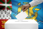 Ballot Box With National Flag On Background - Saint Pierre And Miquelon