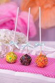 picture of cake pop  - Sweet cake pops on table close - JPG