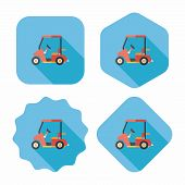 Transportation Golf Cart Flat Icon With Long Shadow,eps10