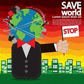Save World Conceptual Illustration.