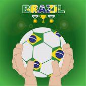 Brazil Football In Hand.