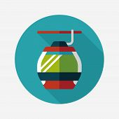 Transportation Cable Car Flat Icon With Long Shadow,eps10