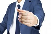 Businessman With Holding Hand Gesture Isolated On White Background