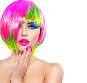 pic of colore  - Beauty Fashion Model Girl with Colorful Dyed Hair - JPG