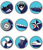 foto of fish icon  - Nautical elements II icons in knotted circle including   sea shells - JPG