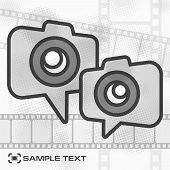 picture of strip  - Camera icon and film strip flat template vector illustration - JPG