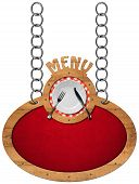 picture of oval  - Oval sign with wooden frame white plate with silver cutlery and text menu - JPG