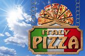 stock photo of food chain  - Wooden sign with frame and text Italy pizza slices of pizza on cutting board - JPG