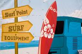 picture of mural  - a bright happy surfer wall mural with light blue background - JPG