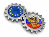 picture of snatch  - Russian and European union flags on a gears - JPG