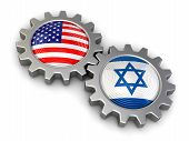 pic of israeli flag  - USA and Israeli flags on a gears - JPG