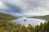 stock photo of emerald  - Emerald Bay in Lake Tahoe with stormy clouds in a Spring afternoon - JPG