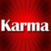 image of deed  - Karma text written over red black burst background - JPG