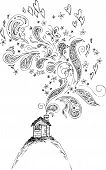stock photo of chimney  - Black and white house with butterflies - JPG