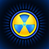 picture of radium  - Glowing sign of radiation with a pattern on a circle on a dark background - JPG