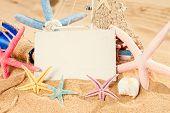 pic of starfish  - blank postcard with starfish frame on sandy beach - JPG