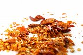 pic of chillies  - dry chilli and seeds on white background macro photo - JPG