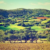 picture of pastures  - Village Surrounded by Pasture and Plowed Fields in the French Limousen Retro Effect - JPG