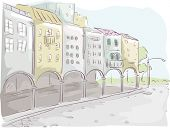 pic of arcade  - Illustration of a Row of Buildings with an Arcade Design - JPG